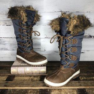 Khombu tall duck lace up faux fur winter boots